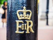 Королевский cypher ферзя в Лондоне, hdr Стоковые Фотографии RF
