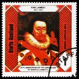 Король Джеймс i, короли Stuart, 25th годовщина коронования ферзя Элизабет II, serie Staffa Шотландии, около 1978 стоковые изображения rf