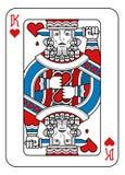 Король игральной карты сердец красные голубого и черный иллюстрация штока