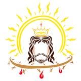 Король Иисус Христос, сияющее солнце и крона терниев с иллюстрация штока