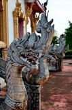 Король статуи naga в тайском виске Стоковое Фото