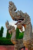 Король статуи naga в тайском виске Стоковые Фото