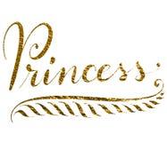 Король текста руки lettered в золоте Стоковые Изображения