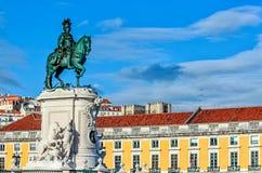 Король Хосе Я статуи на квадрате Comercio в Лиссабоне, Португалии Стоковые Изображения RF