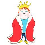 Король шаржа, чертеж руки вектора Милый смешной нарисованный принц в красной королевской хламиде, с красными волосами, с кроной н Стоковое Изображение RF