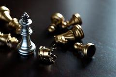 Король шахмат стоит над врагами Победитель в конкуренции дела Конкурентоспособность и стратегия стоковые фотографии rf