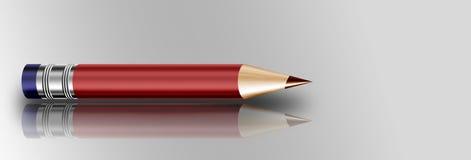 Короткий красный карандаш с истирателем Стоковые Фото