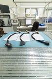 3 коротких части электрического кабеля с прямоугольным многоштыревым соединителем Стоковые Фото