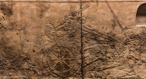 Королевская охота льва, ассирийская форма искусства 645 до 635 ДО РОЖДЕСТВА ХРИСТОВА Стоковое Изображение
