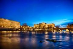 Королевский дворец и дом парламента в Стокгольме стоковое фото rf