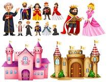 Королевский дворец и различные характеры бесплатная иллюстрация