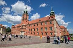 Королевский замок в квадрате замка, на входе к городку Варшавы старому Стоковая Фотография RF