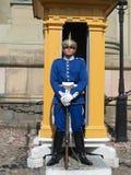 Королевский предохранитель защищая королевский дворец в Стокгольме, Швеции Стоковые Фотографии RF