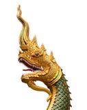 Король змея или король статуи naga в тайском виске изолированном на w Стоковые Фото
