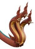 Король змея или король статуи naga в тайском изолированном виске Стоковая Фотография