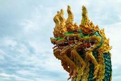 Король изолята Nagas на зеленой предпосылке, файрболе Nagas Стоковое фото RF