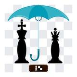 Король и ферзь под зонтиком иллюстрация вектора