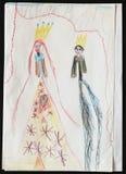 Король и ферзь чертеж s ребенка иллюстрация вектора