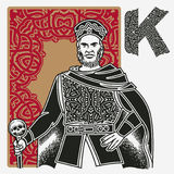 Король Карточка Кельтск Орнамент иллюстрация штока