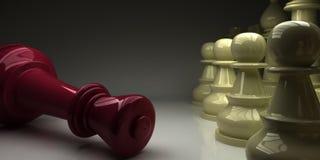 Король шахмат упал перед пешками бесплатная иллюстрация