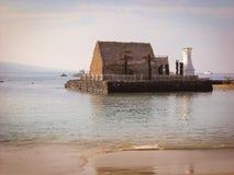 Король Kamehameha Дом Kaiula Kona Гаваи и пляж Тихого океана Стоковые Фотографии RF