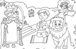 Короля и верный лев в замке с ангелом и младенцем Стоковые Изображения