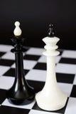 2 короля одного шахмат перед другим Бой равных конкурентов Стоковое Фото