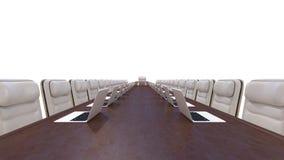 Корпоративная встреча - стулы, компьтер-книжки и стол Стоковые Фотографии RF