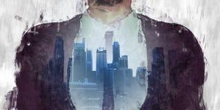 Корпоративная темная сторона города иллюстрация штока