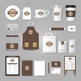 корпоративная тождественность больше моего портфолио устанавливает шаблон Концепция логотипа для кофейни, кафе, иллюстрация штока