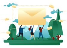 Корпоративная электронная почта Люди офиса носят конверт с письмом Идея проекта посылки сообщений вектор иллюстрации евро доллара бесплатная иллюстрация