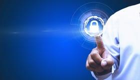Корпоративные функции безопасностью касания которое контролирует безопасность через современные системы стоковое изображение rf