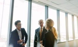 Корпоративный профессиональный говорить о работе в офисе стоковое изображение rf