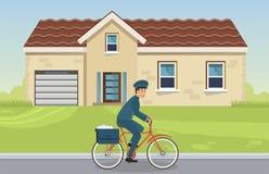Корреспонденция доставки в сельских районах и городе иллюстрация штока