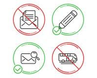 Корреспонденция карандаша, почты и почта поиска набор значков r r иллюстрация вектора