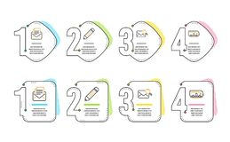 Корреспонденция карандаша, почты и почта поиска набор значков r r бесплатная иллюстрация