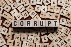 Коррумпированная концепция слова стоковое фото rf