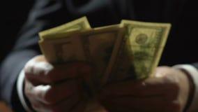 Коррумпированная персона дела подсчитывая банкноты доллара, финансовое злодеяние, хищение видеоматериал