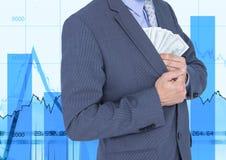 Коррумпированный бизнесмен с деньгами в карманн Стоковая Фотография
