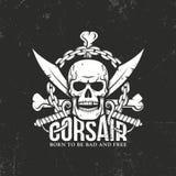 Корсар, логотип пирата иллюстрация штока