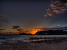 Корфу - заход солнца пляжа Georgios ажио Стоковое Изображение RF