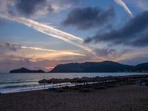 Корфу - заход солнца пляжа Georgios ажио Стоковая Фотография