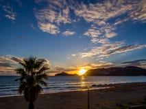 Корфу - заход солнца пляжа Georgios ажио Стоковая Фотография RF