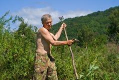 косить человека 35 трав Стоковая Фотография RF