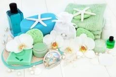 Косметика ванной комнаты и курорта Стоковая Фотография