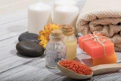 Косметика ванны курорта предпосылка косметики мыла Стоковое Фото