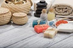 Косметика ванны курорта предпосылка косметики мыла Стоковая Фотография RF