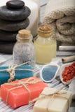 Косметика ванны курорта предпосылка косметики мыла Стоковые Фотографии RF