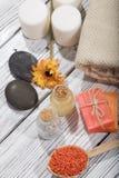 Косметика ванны курорта предпосылка косметики мыла Стоковые Изображения RF