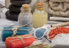 Косметика ванны курорта предпосылка косметики мыла Стоковое Изображение RF